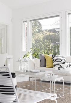 Asunto Hakala of from Lessismore. Cozy Living Rooms, Home Living Room, Living Room Decor, Living Spaces, Living Room Inspiration, Interior Inspiration, Monochrome Interior, Interior Design, House Decoration Items