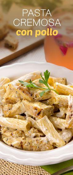 No hay receta más fácil que esta pasta con pollo y crema. ¡Prepara esta pasta con crema en tan sólo unos minutos y conquista el corazón de todos!