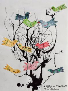 Unique art project to try with kids: make mixed media birds and blown ink branches.