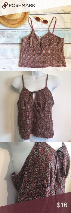 🐣5for$25🐣Boho Style Suede Tie Midriff Crop Top Boho festival style early late 90s/early 2000's geometric Tapestry print midriff crop top with Suede ties at bust. Does have some minor fading as shown in photo. Size large. No modeling. Smoke free home. I do discount bundles. Vintage Tops Crop Tops