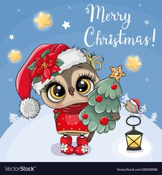 Greeting Christmas card Cute Cartoon Owl with Christmas tree on a blue background Happy Christmas Day, Christmas Owls, Christmas Pictures, Christmas Greetings, Christmas Crafts, Merry Christmas, Christmas Cartoons, Christmas Clipart, Owl Cartoon