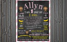 Custom Printable First Birthday Chalkboard Poster Sign Monkey and Banana Theme 16x20 (or larger)