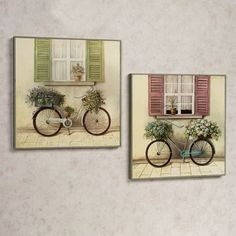 Floral Bicycle Wooden Wall Art Plaque Set