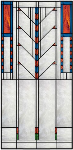 Vertical Stained Glass Window With Frank Lloyd Wright Inspired Theme