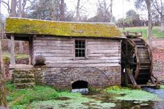 small cabin mill in ceterville, missouri used to grind corn and weat. built by nathaniel scott 1881