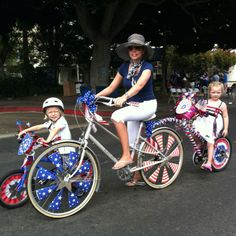 Me, my kids and Martha Stewart's printables in 2012. Bicycle decorations. 4th of July Bike Parade.