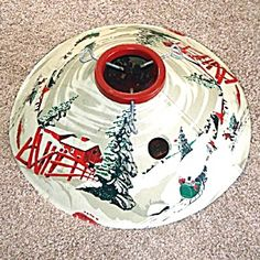 Coloramic Tin Litho Winter Sleigh Scene Christmas Tree Stand. Click on the image for more information.