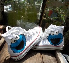 Special for Maggie M. Hand Painted Cookie Monster Converse via Etsy