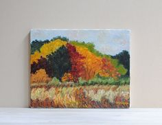 Vintage Original Landscape Painting / Fall by LittleDogVintage