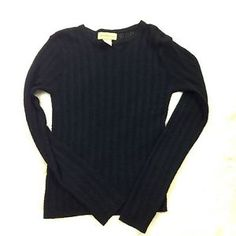 Solid Black Women's Anthropologie Crewneck Sweater Top Thin Knit Medium  | eBay