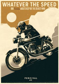 Vintage Graphic Design PERCIVAL POSTER CAMPAIGN by Telegramme - While scanning the internet for great designs we tend to find huge amounts of amazing illustrations, drawings Logos Vintage, Pub Vintage, Vintage Advertising Posters, Vintage Posters, Vintage Style, Vintage Graphic, Bike Poster, Motorcycle Posters, Motorcycle Art