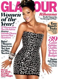 Rihanna on the Glamour magazine cover.