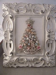Vintage rhinestone jewelry Christmas tree. Where the hell does everyone get those awesome jewlery from???