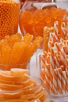 Autumn orange-y candy buffet
