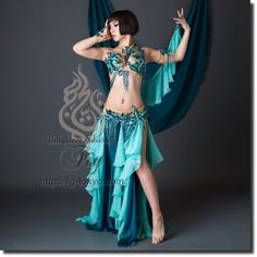 【Turkish Belly Dance Costume】by Bella / Emerald Teal / WORLDWIDE SHIPPING