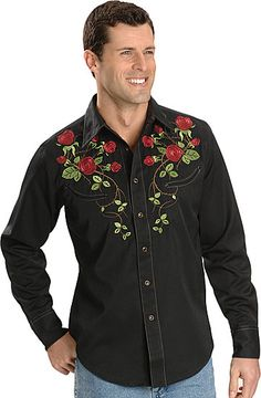 Roper, rose and vine embroidered retro Western shirt