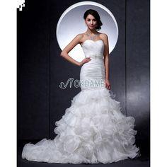Organza tiefe Taile sexy romantisches Brautkleid mit Kristall aus Satin