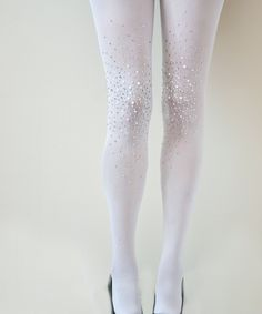 Frost White Bridal Opaque Studded Tights
