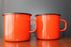 Vintage Red Enamel Mugs Mod Coffee Mugs French by EarthsTrove