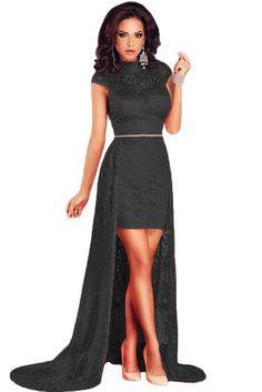 Chic Short Black Lace High Neck Dress with Train