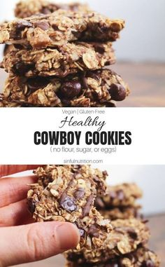Healthy Cowboy Cookies Recipe Vegan GlutenFree A healthy dessert made with only 9 ingredients with no added oils sugars flours or eggs sinfulnutrition Healthy Cookie Recipes, Healthy Cookies, Healthy Baking, Healthy Desserts, Gourmet Recipes, Vegan Recipes, Cookies Vegan, Healthy Nutrition, Whole Foods Cookies