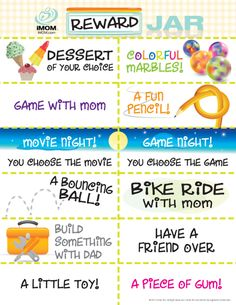 Reward Jar Coupons, when you want to recognize your kids for a job well done, for doing more than expected, or for just being themselves.  You can use all of the coupons, or only the ones you think they'll like best.  Just print them, cut them out, put them in a jar, and let your kids reach in to choose their coupon.