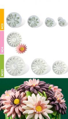 Dough - sugarpaste cutter daisy 3D set 3pcs. Dough Cutter, Cookie Dough, Daisy, 3d, Plants, Daisies, Flora, Plant, Cake Batter