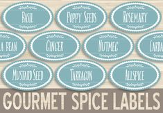 Printable Spice Labels // 1.5x2.5 Oval by PENandBRUSHPrintable