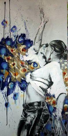 Best Street Art, Amazing Street Art, Dance Paintings, Cool Paintings, Airbrush Art, Pop Art, Cecile, Street Art Graffiti, Portrait Art