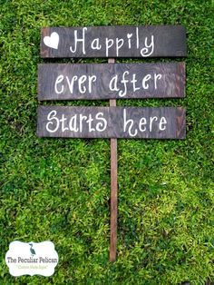 Items similar to Wedding Road Sign, Happily Ever After Starts Here, Personalized Wedding Signs, Wood Rustic Ceremony Sign, outdoor wedding decor on Etsy Wedding With Kids, Wedding In The Woods, Our Wedding, Dream Wedding, Wedding Stuff, Wedding Ideas, Wedding Styles, Personalized Signs, Personalized Wedding