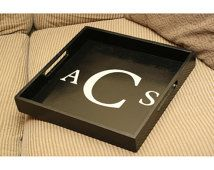 Monogrammed couch tray serving tray ottoman tray wedding gift personalized