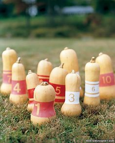 Substitute fall squash for bowling balls in this outdoor, harvest-themed version of bowling.