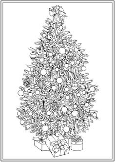 Creative Haven CHRISTMAS TREES Coloring Book By: Barbara Lanza -  Dover Publications COLORING PAGE 1 of  4