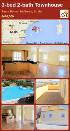 3-bed 2-bath Townhouse in Santa Ponsa, Mallorca, Spain ►€480,000 #PropertyForSaleInSpain
