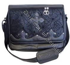 Dark Star - Leather Look Messenger Bag w/ Cobweb Panel - Black