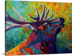 Great Big Canvas Forest Echo Elk by Marion Rose Painting Print on Wrapped Canvas Canvas Art Prints, Canvas Wall Art, Big Canvas, Canvas Size, Painting Frames, Painting Prints, Painting Canvas, Bull Elk, Canvas Online