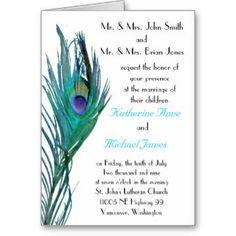 Pfau-Hochzeits-Einladungs-Schablone Karte