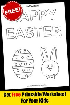 Easter Coloring Pages, Colouring Pages, Coloring Pages For Kids, Kids Coloring, Kindergarten Math Worksheets, Worksheets For Kids, Printable Worksheets, Learning Colors, Happy Easter