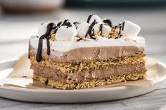 """No-Bake S'more """"Cake"""": 1 pkg. (3.9 oz.) JELL-O Chocolate Flavor Instant Pudding, 1-1/2 cups cold milk, 14 graham crackers, broken crosswise in half (28 squares), 1 tub (8 oz.) COOL WHIP Whipped Topping, thawed, divided, 1 cup JET-PUFFED Miniature Marshmallows, 2 Tbsp. chocolate syrup"""