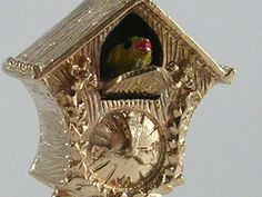 Vintage 3D Mechanical 9ct Gold Cuckoo Clock Charm H/MK 1966 by BishopsAttic on Etsy