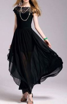 Black Bohemian Square Neck Short Sleeve Lace Spliced Pure Color Women's Maxi…