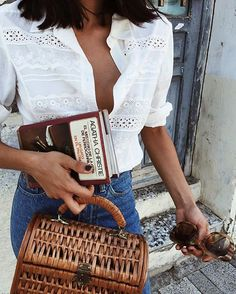 Wicker bag street style outfits inspiration accessories fashion trend style summer 20178