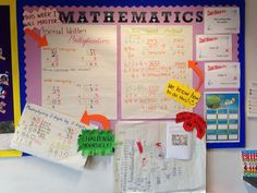 Maths Working Wall for Year 4 Top Set. Grid Method and Formal Written Multiplication. These flip charts are straight from my lesson, the students are familiar with them as I made them with them, for… Maths Display Ks2, Maths Classroom Displays, Year 6 Classroom, Year 3 Maths, Ks2 Classroom, Class Displays, School Displays, Classroom Organisation, Classroom Ideas