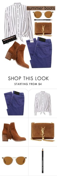 """""""Summer boots"""" by baimatovaaa ❤ liked on Polyvore featuring Gestuz, Equipment, Kenneth Cole Reaction, Yves Saint Laurent, Oliver Peoples, NYX, Charlotte Russe, Summer, Boots and boho"""