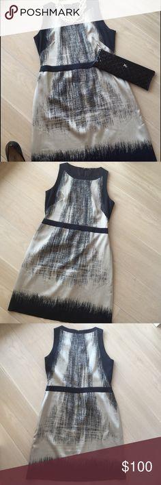 Tahari Silk Dress 100% silk Tahari dress in black and cream. Only worn once. Size 10. Great work dress, also versatile for wedding, funeral, church! Will accept offers! Tahari Dresses Midi