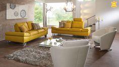 Gelbe Sofa-Kombination im modernen Stil inkl. Sitztiefen- und Armteilverstellung