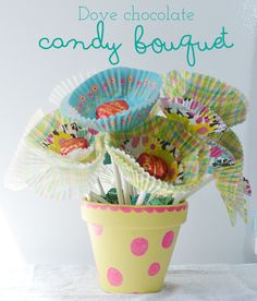 DIY Chocolate Candy Cupcake Liner Flower Bouquet  from nelliebellie.com