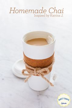 I'd use agave instead of Splenda and leave off the milk. Try this recipefor a chai latte inspired by our fan, Katrina J., it'll warm you up as the weather cools down. Add a personal touch to your cup with this DIY coozie. Non Alcoholic Drinks, Fun Drinks, Yummy Drinks, Healthy Drinks, Healthy Snacks, Beverages, Cocktails, Healthy Eating, Smoothies