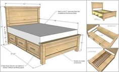 DIY Farmhouse Storage Bed With Storage Drawers - http://theperfectdiy.com/diy-farmhouse-storage-bed-with-storage-drawers/ #DIY