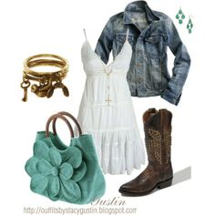 jean jacket, created by stacy-gustin on Polyvore- Developing a thing for cowboy boots and dresses.